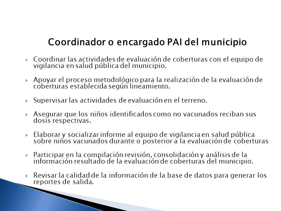 Coordinador o encargado PAI del municipio