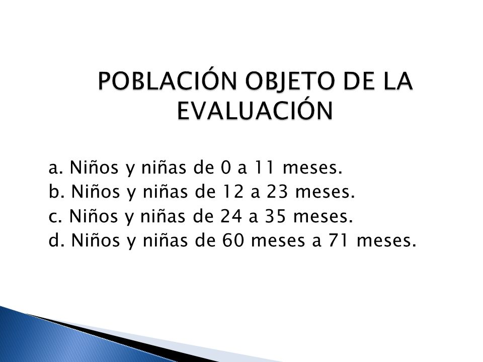 POBLACIÓN OBJETO DE LA EVALUACIÓN