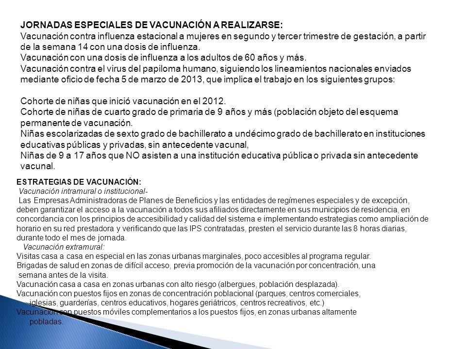 JORNADAS ESPECIALES DE VACUNACIÓN A REALIZARSE: