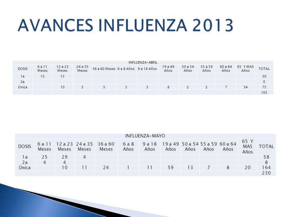 AVANCES INFLUENZA 2013 INFLUENZA-MAYO DOSIS 6 a 11 Meses 12 a 23 Meses