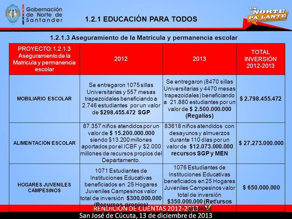1.2.1 EDUCACIÓN PARA TODOS 1.2.1.3 Aseguramiento de la Matricula y permanencia escolar.