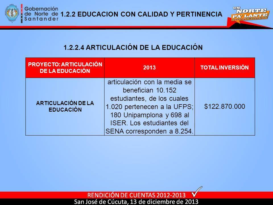 PROYECTO: ARTICULACIÓN DE LA EDUCACIÓN ARTICULACIÓN DE LA EDUCACIÓN