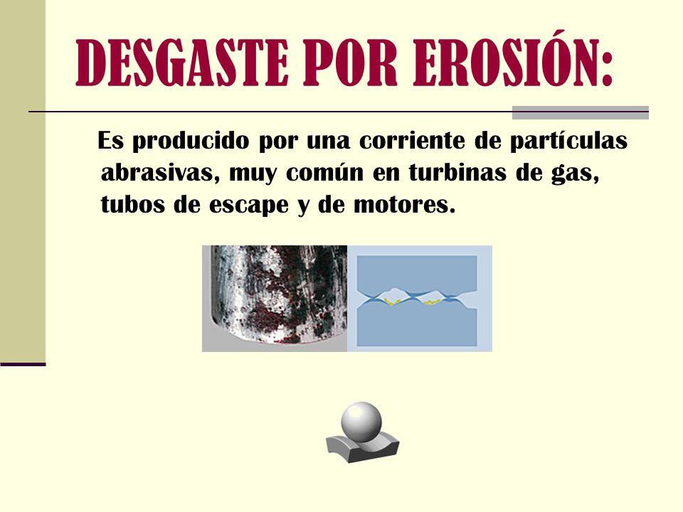 DESGASTE POR EROSIÓN: Es producido por una corriente de partículas abrasivas, muy común en turbinas de gas, tubos de escape y de motores.