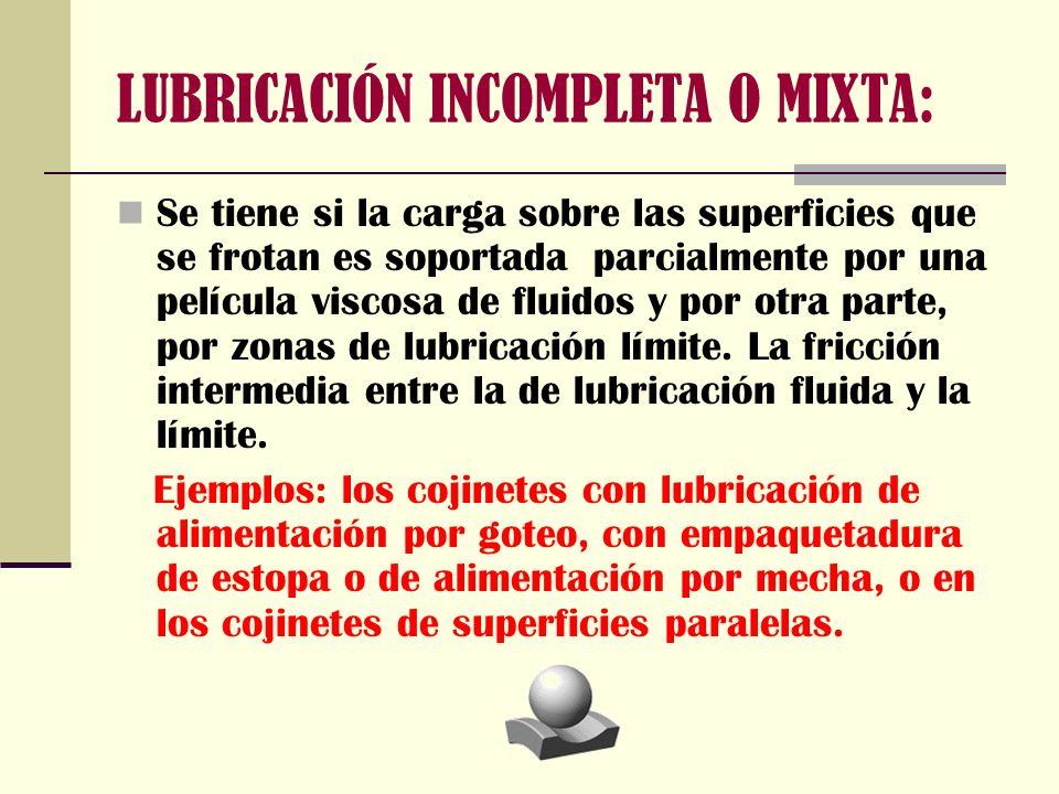 LUBRICACIÓN INCOMPLETA O MIXTA: