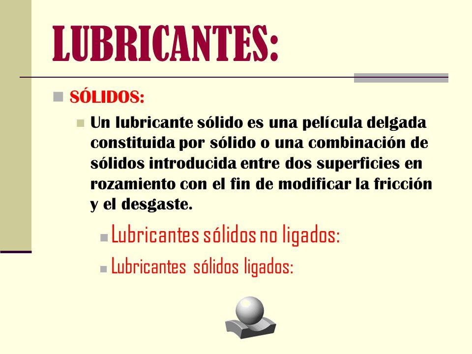 LUBRICANTES: Lubricantes sólidos no ligados:
