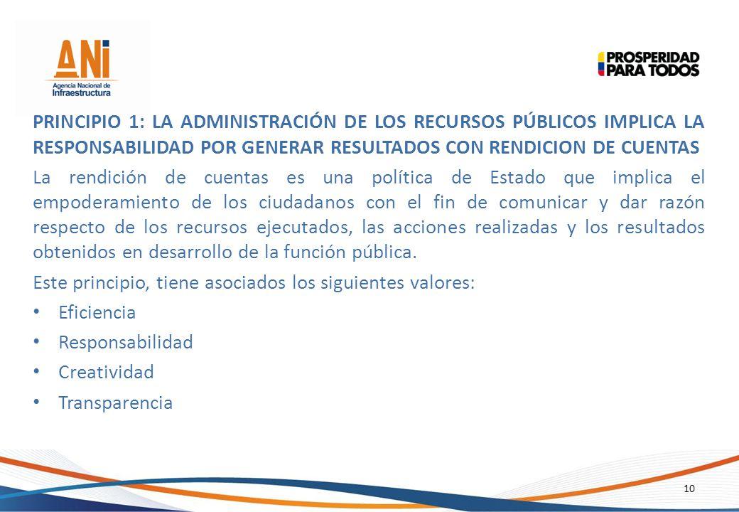 Principio 1: La Administración de los Recursos Públicos Implica LA RESPONSABILIDAD POR GENERAR RESULTADOS CON RENDICION DE CUENTAS