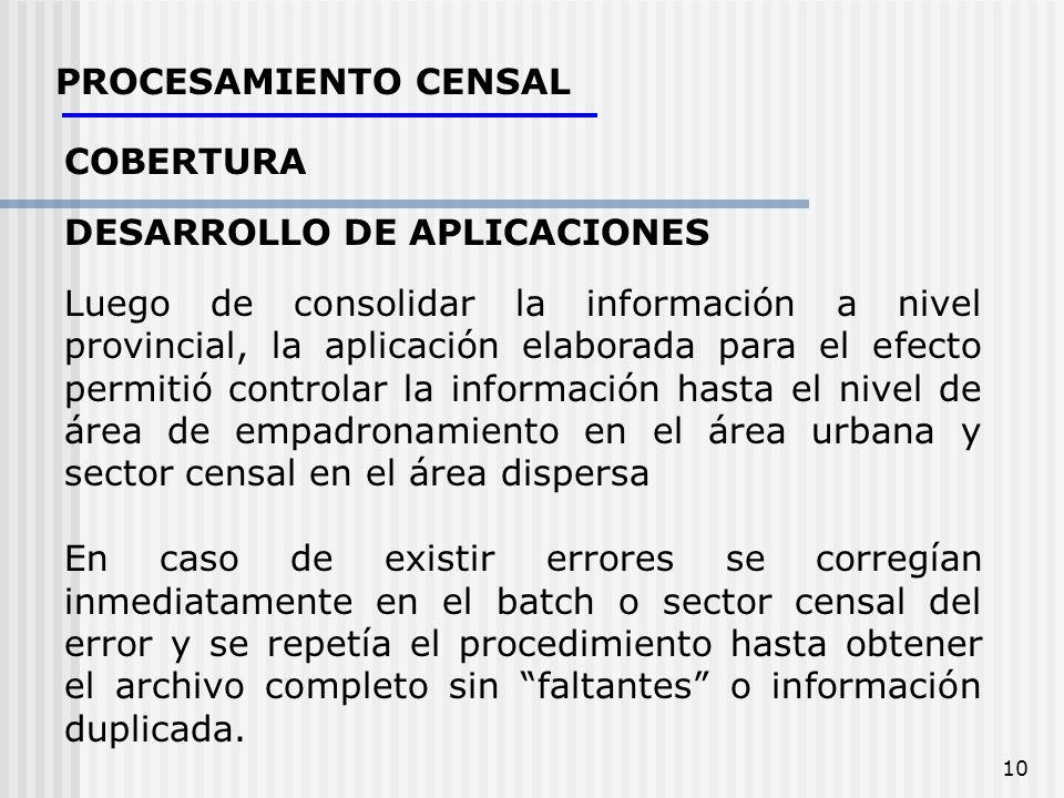 PROCESAMIENTO CENSAL COBERTURA. DESARROLLO DE APLICACIONES.