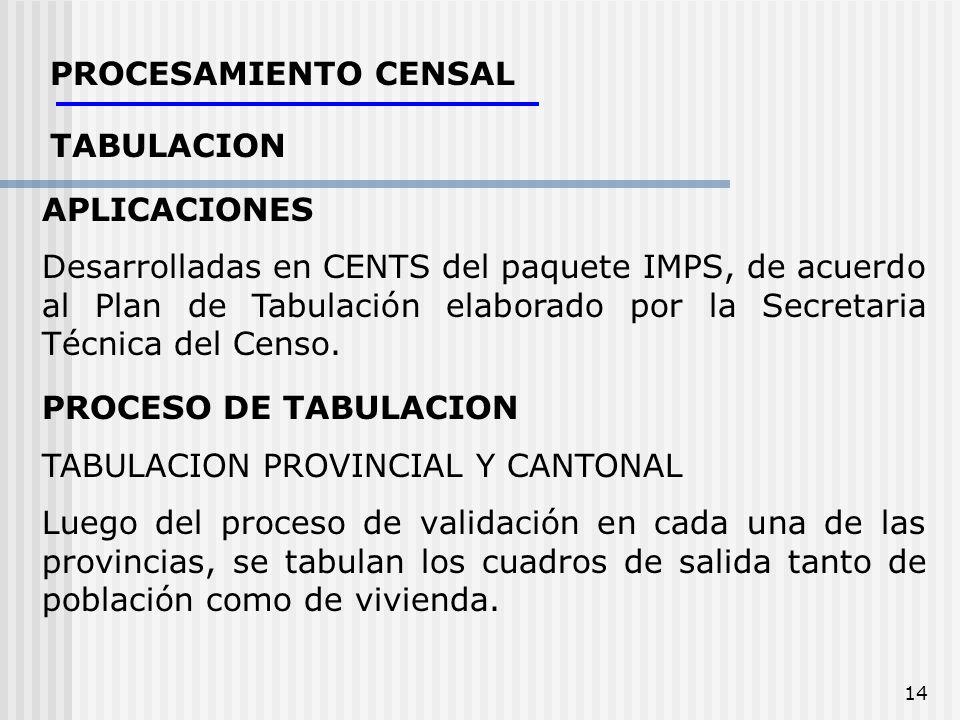 PROCESAMIENTO CENSAL TABULACION. APLICACIONES.