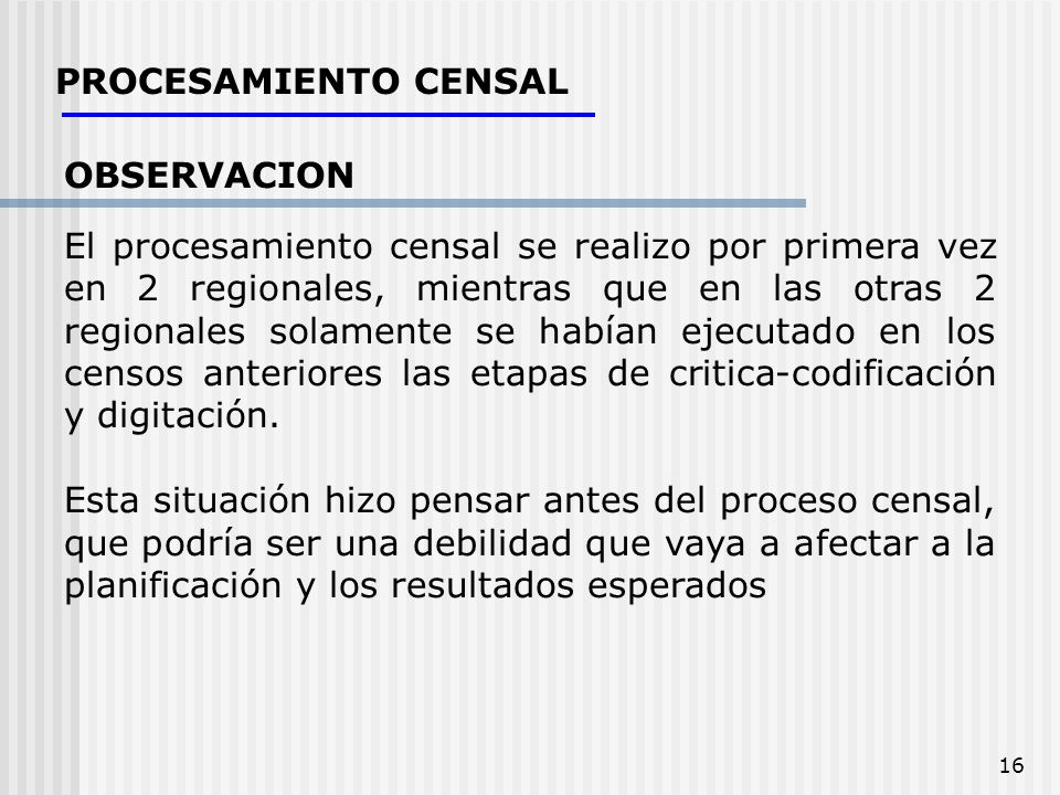 PROCESAMIENTO CENSAL OBSERVACION.
