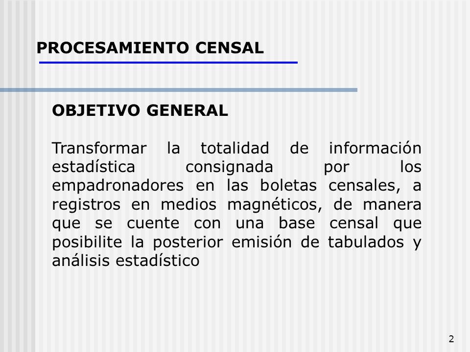 PROCESAMIENTO CENSAL OBJETIVO GENERAL.