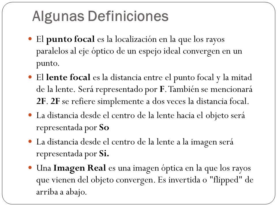 Algunas DefinicionesEl punto focal es la localización en la que los rayos paralelos al eje óptico de un espejo ideal convergen en un punto.