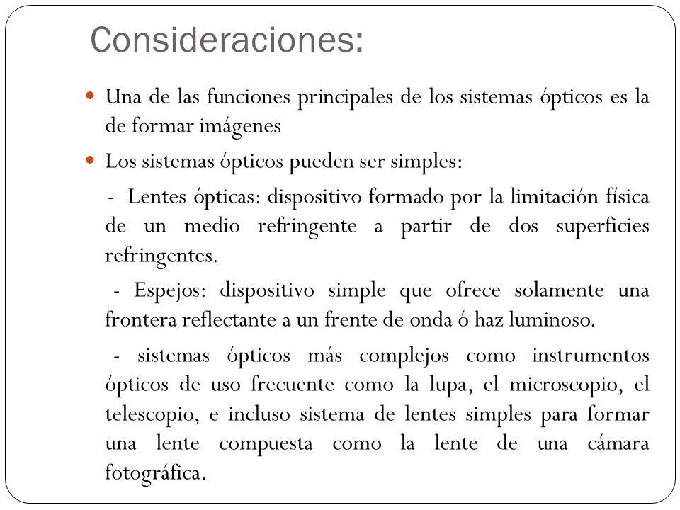 Consideraciones: Una de las funciones principales de los sistemas ópticos es la de formar imágenes.