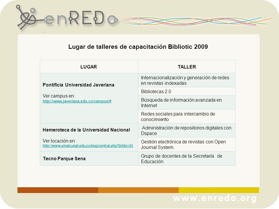 Lugar de talleres de capacitación Bibliotic 2009