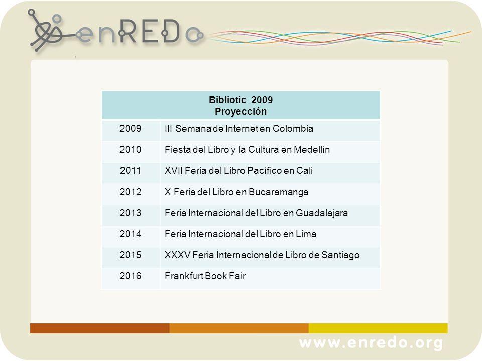 Bibliotic 2009 Proyección. 2009. III Semana de Internet en Colombia. 2010. Fiesta del Libro y la Cultura en Medellín.