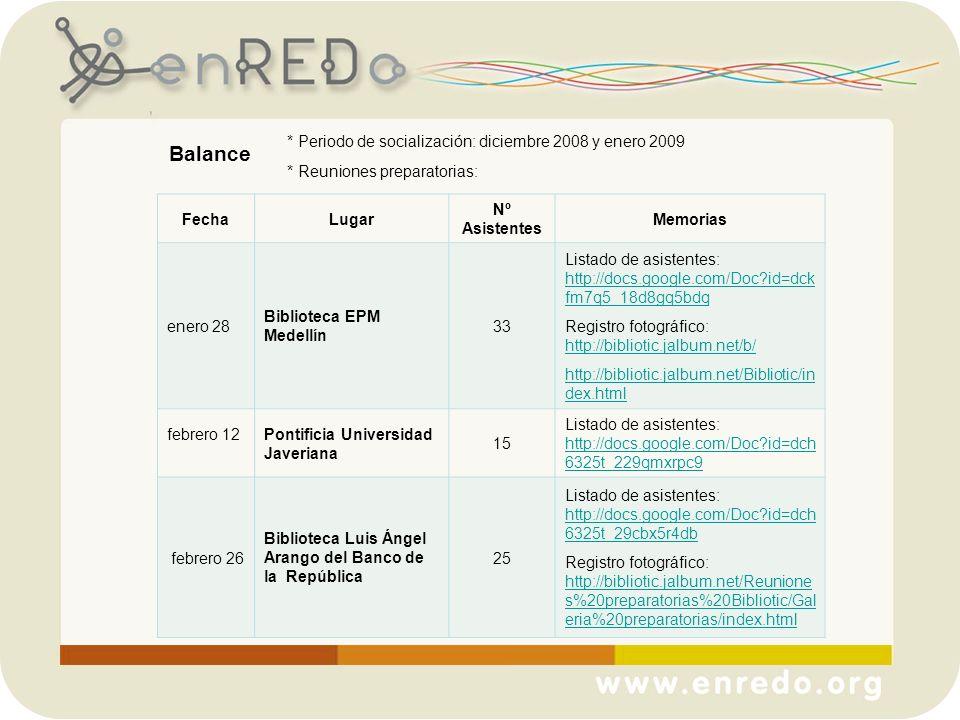 Balance * Periodo de socialización: diciembre 2008 y enero 2009