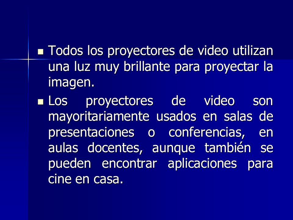 Todos los proyectores de video utilizan una luz muy brillante para proyectar la imagen.