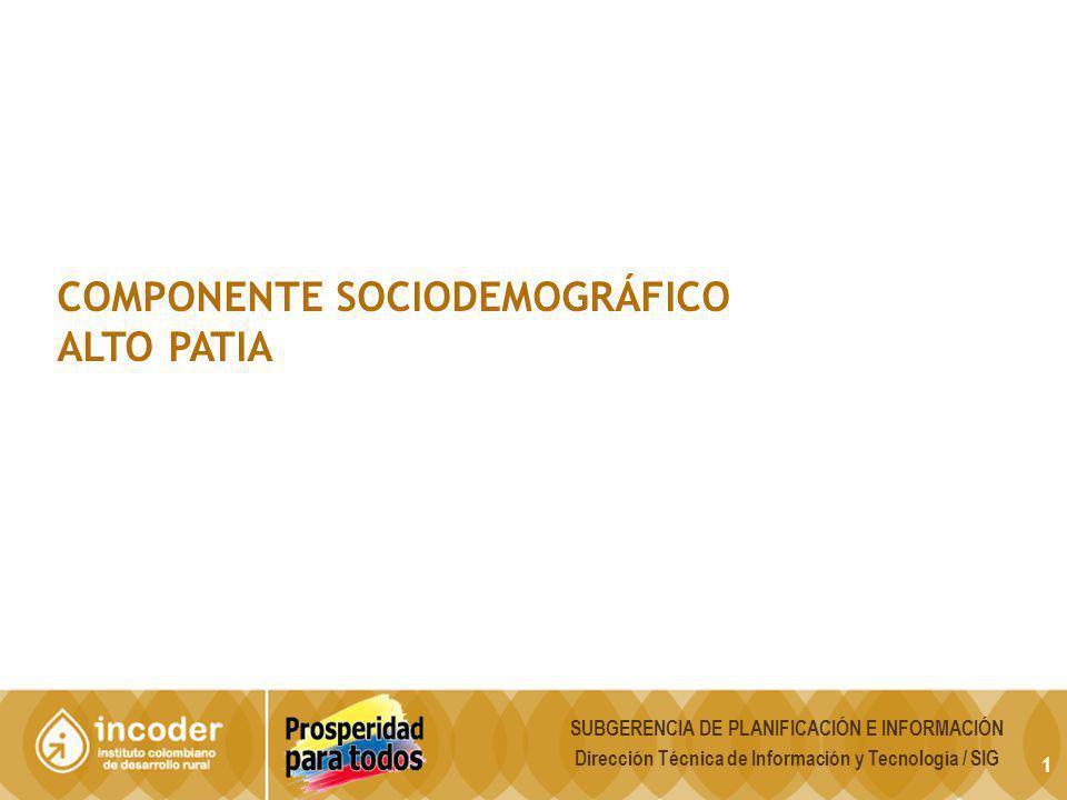 COMPONENTE SOCIODEMOGRÁFICO ALTO PATIA