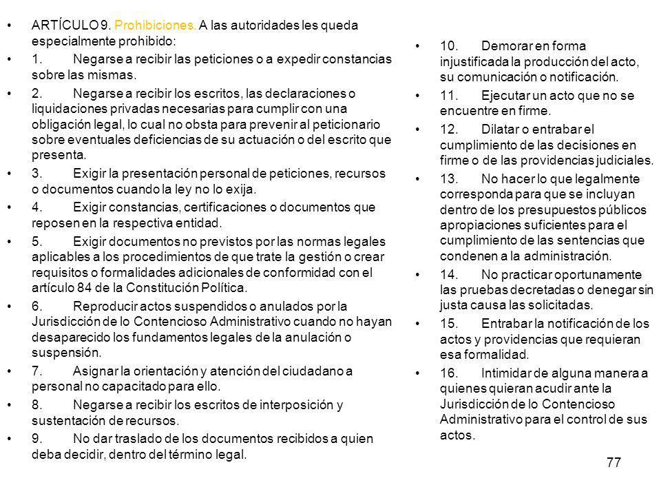 ARTÍCULO 9. Prohibiciones
