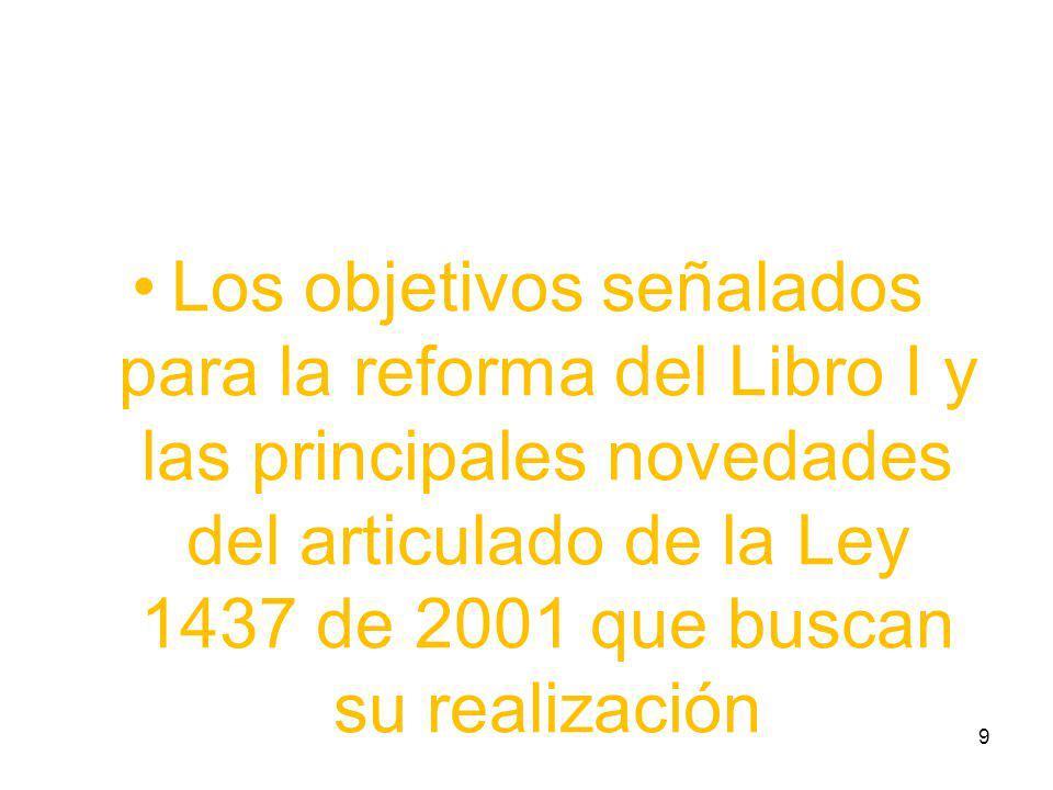Los objetivos señalados para la reforma del Libro I y las principales novedades del articulado de la Ley 1437 de 2001 que buscan su realización