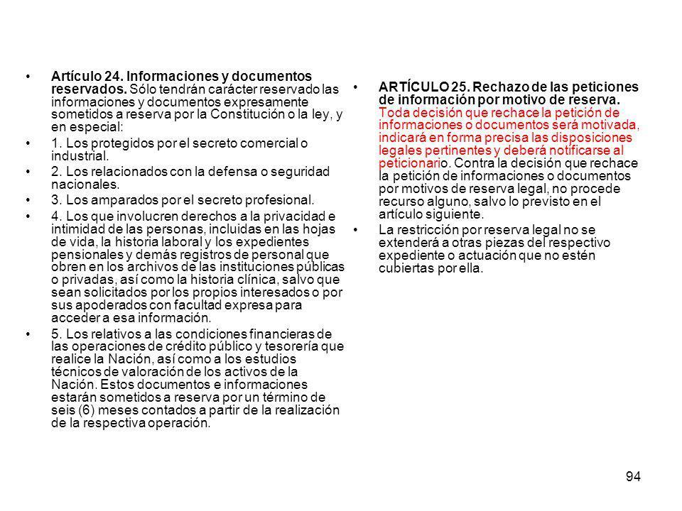 Artículo 24. Informaciones y documentos reservados