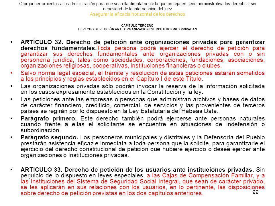 DERECHO DE PETICIÓN ANTE ORGANIZACIONES E INSTITUCIONES PRIVADAS