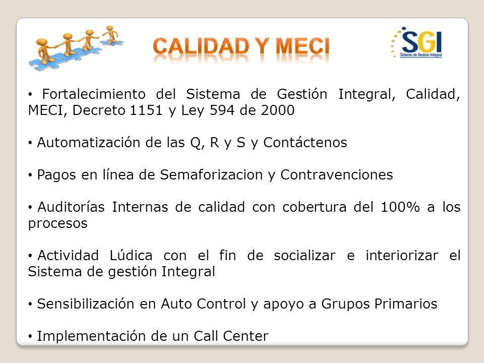 Calidad y meci Fortalecimiento del Sistema de Gestión Integral, Calidad, MECI, Decreto 1151 y Ley 594 de 2000.