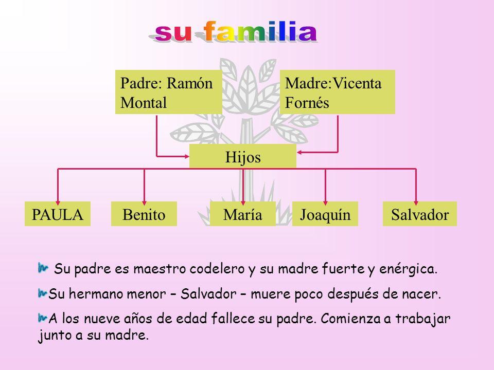 su familia Padre: Ramón Montal Madre:Vicenta Fornés Hijos PAULA Benito