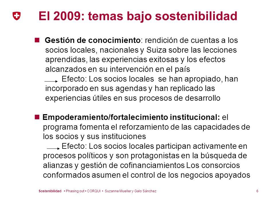 El 2009: temas bajo sostenibilidad