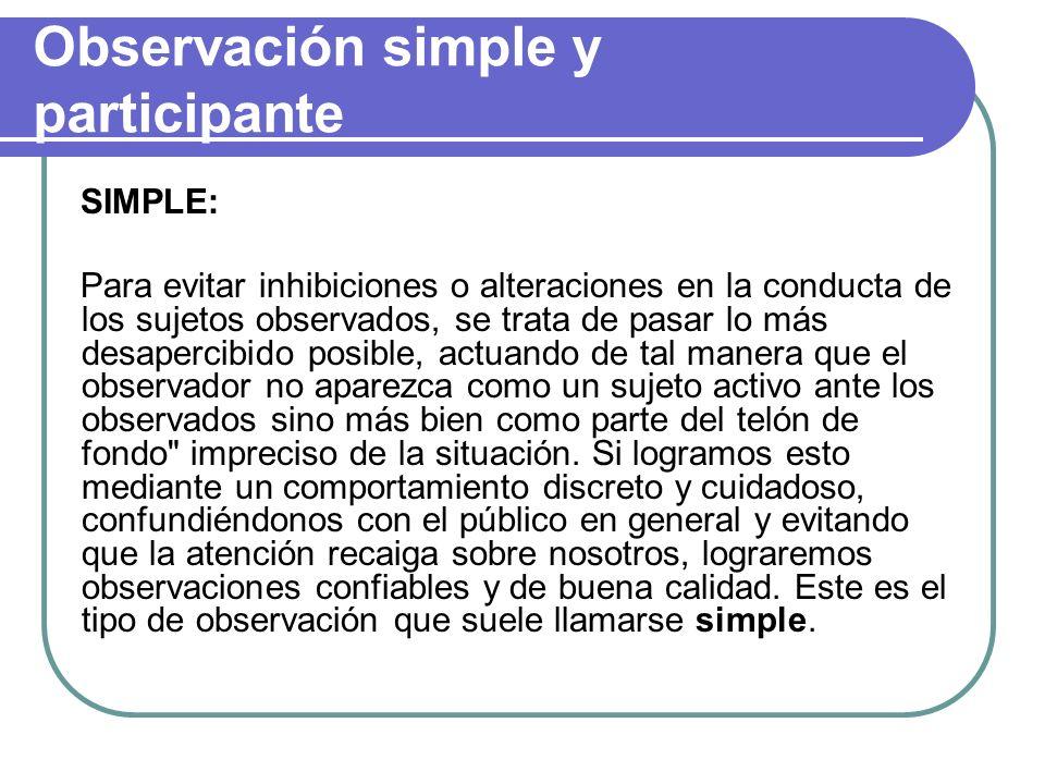 Observación simple y participante