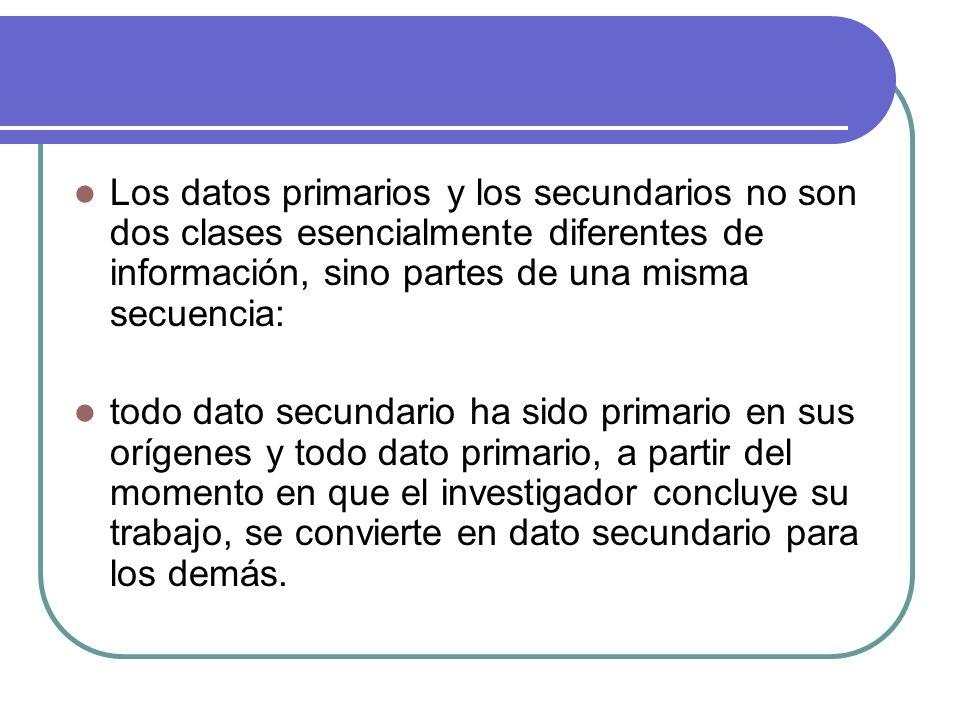 Los datos primarios y los secundarios no son dos clases esencialmente diferentes de información, sino partes de una misma secuencia: