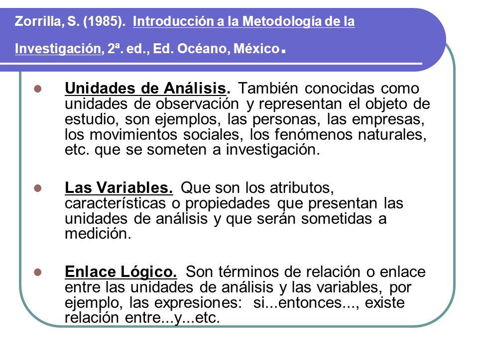Zorrilla, S. (1985). Introducción a la Metodología de la Investigación, 2ª. ed., Ed. Océano, México.