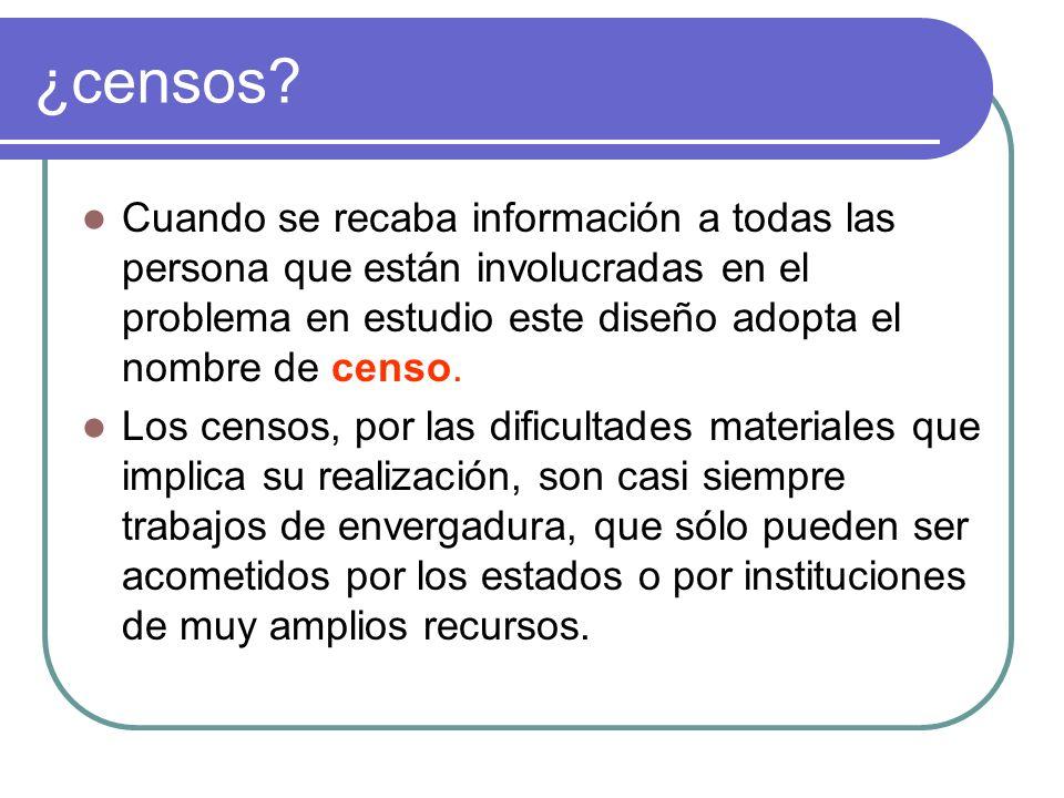 ¿censos Cuando se recaba información a todas las persona que están involucradas en el problema en estudio este diseño adopta el nombre de censo.