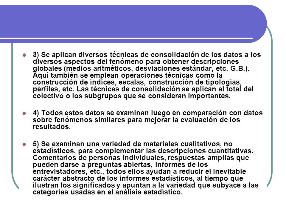 3) Se aplican diversos técnicas de consolidación de los datos a los diversos aspectos del fenómeno para obtener descripciones globales (medios aritméticos, desviaciones estándar, etc. G.B.). Aquí también se emplean operaciones técnicas como la construcción de índices, escalas, construcción de tipologías, perfiles, etc. Las técnicas de consolidación se aplican al total del colectivo o los subgrupos que se consideran importantes.