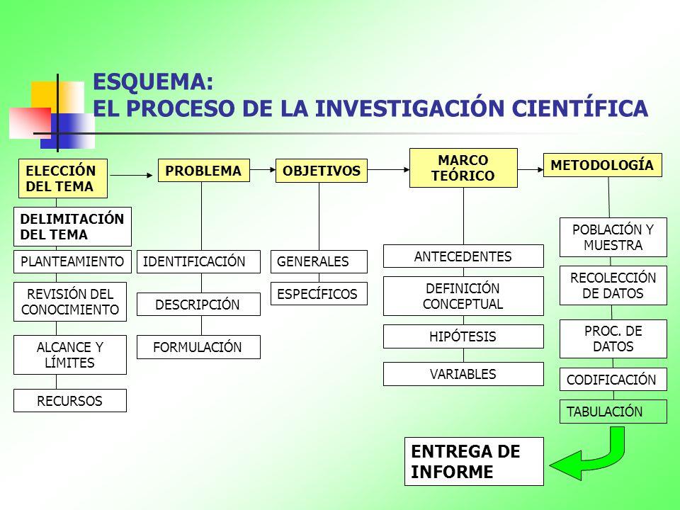 ESQUEMA: EL PROCESO DE LA INVESTIGACIÓN CIENTÍFICA