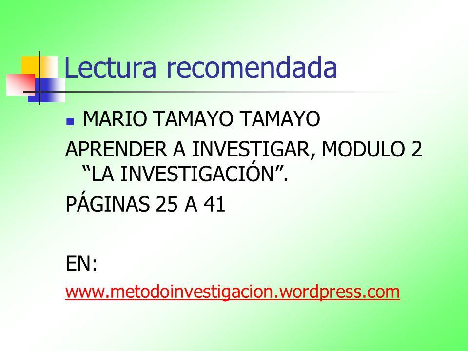 Lectura recomendada MARIO TAMAYO TAMAYO