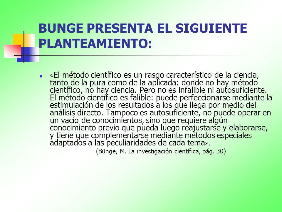 BUNGE PRESENTA EL SIGUIENTE PLANTEAMIENTO: