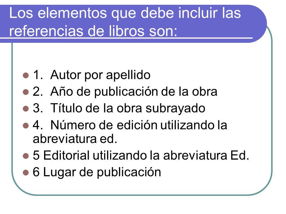 Los elementos que debe incluir las referencias de libros son: