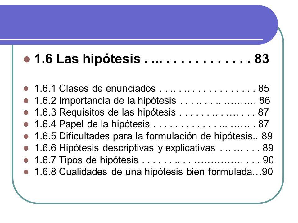 1.6 Las hipótesis . ... . . . . . . . . . . . . 83 1.6.1 Clases de enunciados . . .. . .. . . . . . . . . . . . . 85.