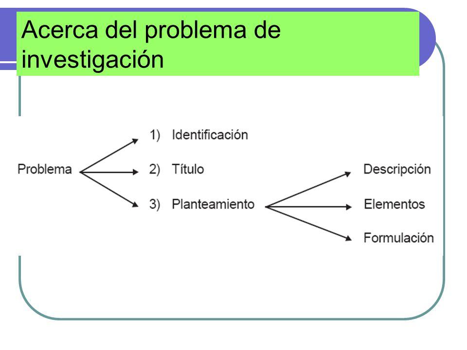 Acerca del problema de investigación
