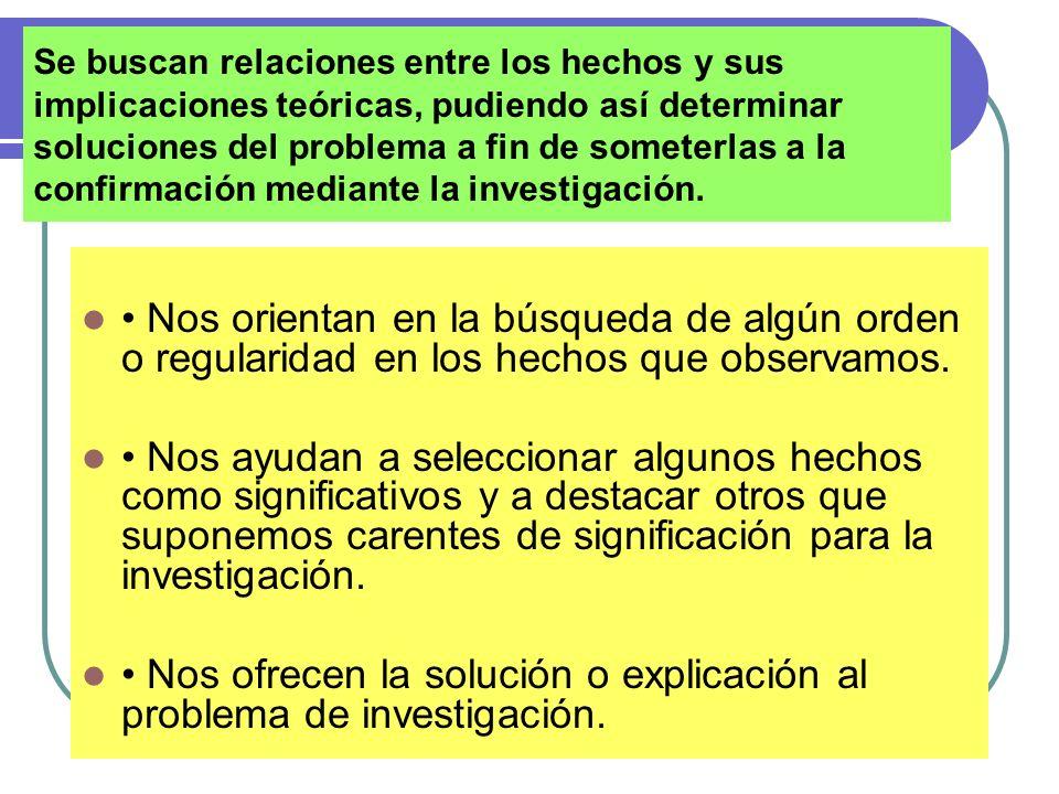 • Nos ofrecen la solución o explicación al problema de investigación.