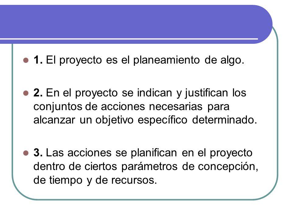 1. El proyecto es el planeamiento de algo.