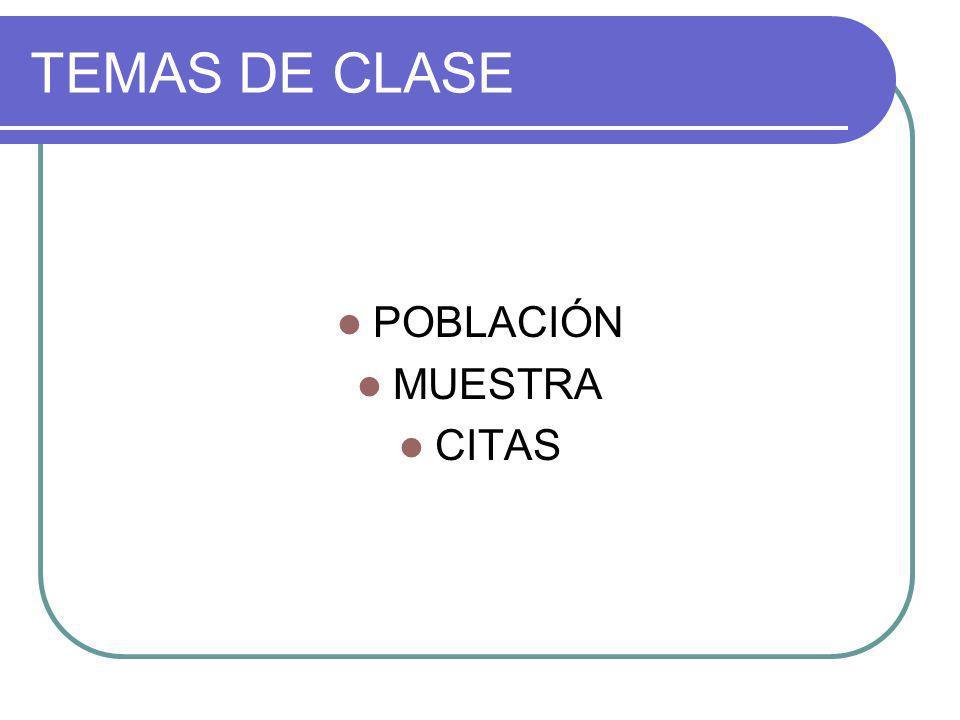 TEMAS DE CLASE POBLACIÓN MUESTRA CITAS