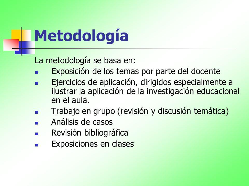 Metodología La metodología se basa en: