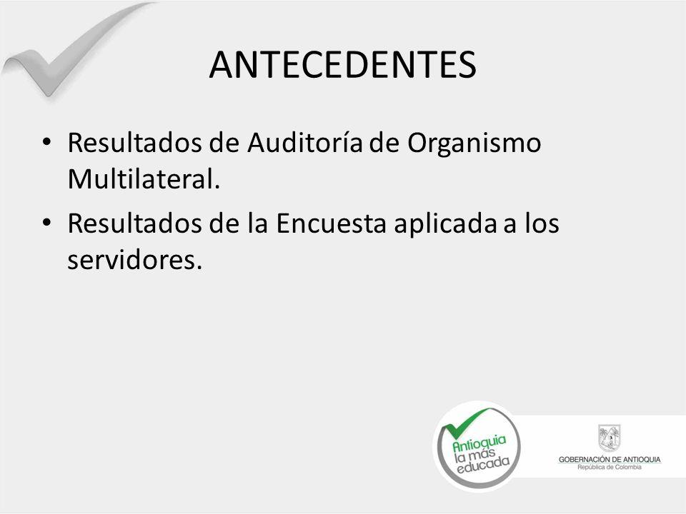 ANTECEDENTES Resultados de Auditoría de Organismo Multilateral.