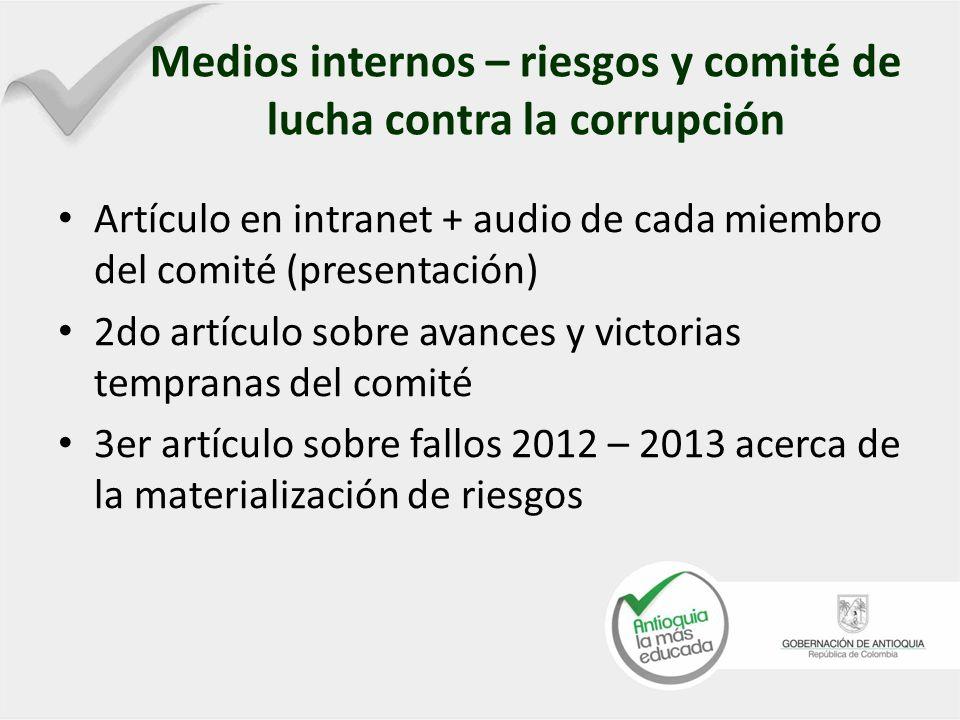 Medios internos – riesgos y comité de lucha contra la corrupción