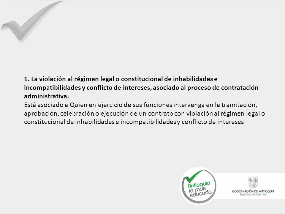 1. La violación al régimen legal o constitucional de inhabilidades e incompatibilidades y conflicto de intereses, asociado al proceso de contratación administrativa.