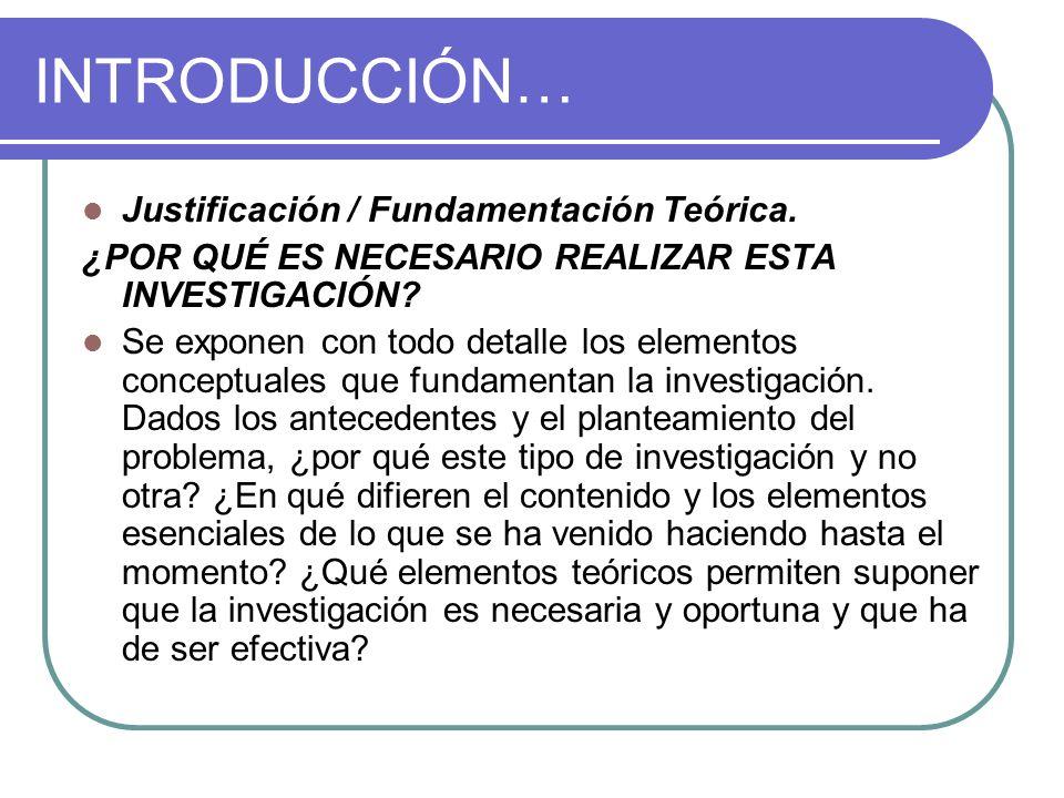 INTRODUCCIÓN… Justificación / Fundamentación Teórica.
