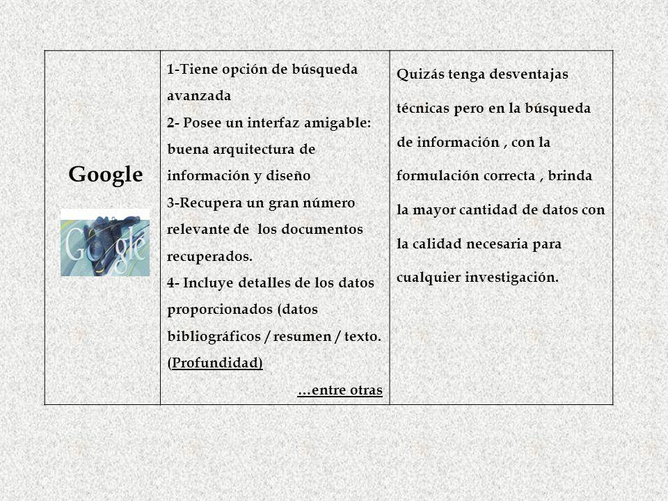 Google 1-Tiene opción de búsqueda avanzada