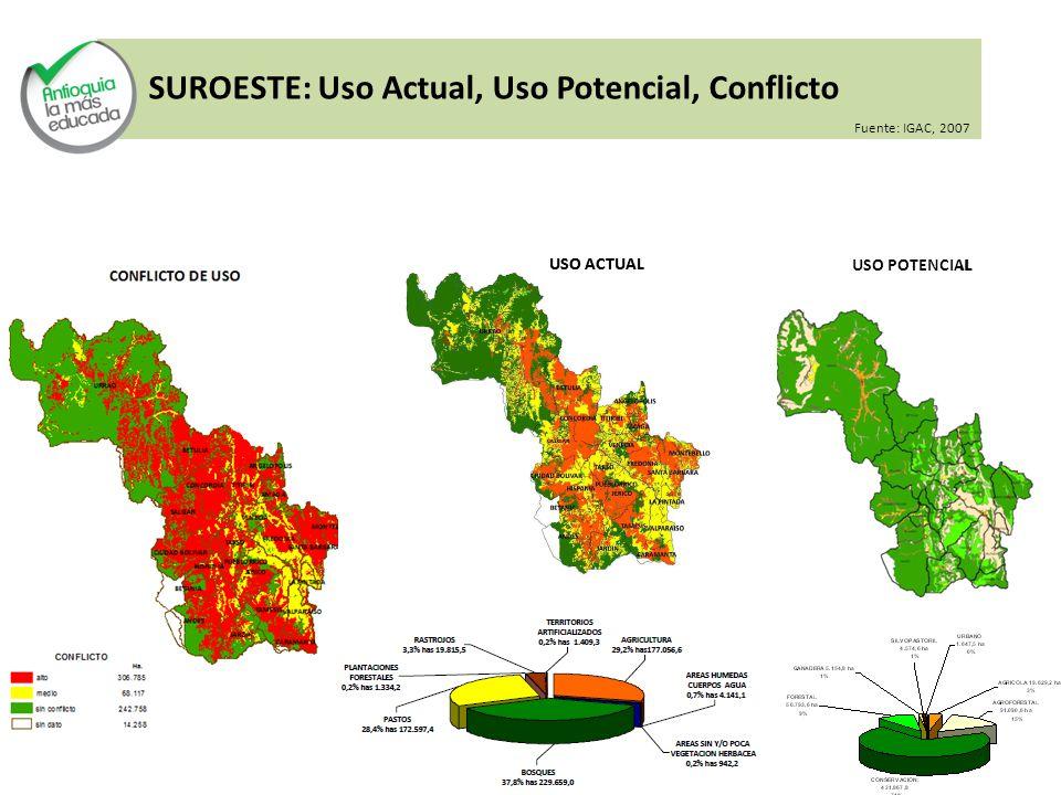 SUROESTE: Uso Actual, Uso Potencial, Conflicto