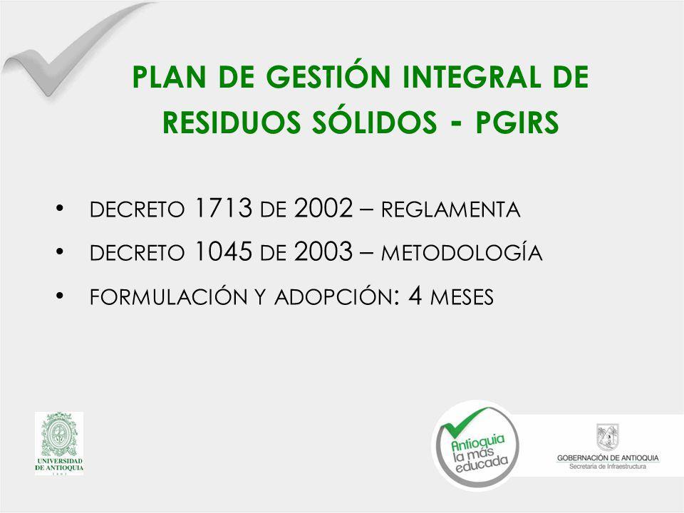 plan de gestión integral de residuos sólidos - pgirs